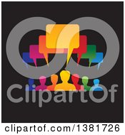 Colorful Group Of People With Speech Balloons Over Black