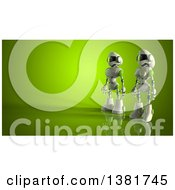 Clipart Of 3d White And Green Robots On Green Royalty Free Illustration by Julos