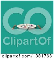 Clipart Of A 3d Plate With Diet Pills And Silverware On A Turquoise Background Royalty Free Illustration
