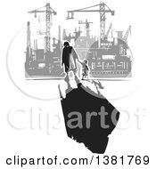 Clipart Of A Black And White Woodcut Senior Woman Walking With A Grandchild And A Dark Shadow Near A Gray Factory Royalty Free Vector Illustration