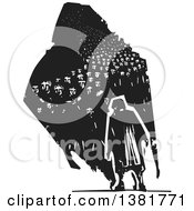 Clipart Of A Black And White Woodcut Senior Woman Walking With A Dark Shadow Of Refugees Royalty Free Vector Illustration