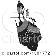 Clipart Of A Black And White Woodcut Senior Woman Walking With A Grandchild And A Dark Shadow Of Refugees Royalty Free Vector Illustration