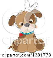 Clipart Of A Cute Puppy Dog Sitting With A Bandage And A Tooth Ache Royalty Free Vector Illustration