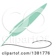 Flat Design Green Feather Plume Quill Pen