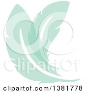 Clipart Of Flat Design Green Feather Plumes Royalty Free Vector Illustration