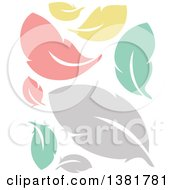 Clipart Of Flat Design Colorful Feather Plumes Royalty Free Vector Illustration