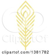 Clipart Of A Flat Design Yellow Feather Plume Royalty Free Vector Illustration