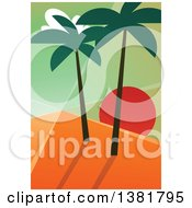 Clipart Of A Geometric Travel Background Of An Island Sunset With Palm Trees Royalty Free Vector Illustration by elena