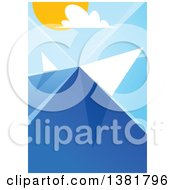 Clipart Of A Geometric Travel Background Of Boats Sailing At Sea Royalty Free Vector Illustration