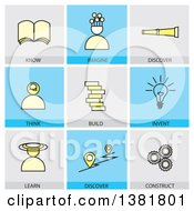 Clipart Of Icons With Text Royalty Free Vector Illustration