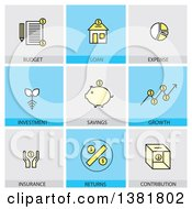 Clipart Of Financial Icons With Text Royalty Free Vector Illustration