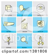 Clipart Of Startup Business Icons With Text Royalty Free Vector Illustration