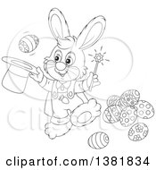 Clipart Of A Cartoon Black And White Bunny Rabbit Magician Performing A Trick With Easter Eggs Royalty Free Vector Illustration