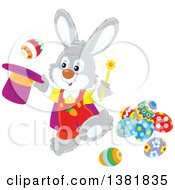 Clipart Of A Gray Rabbit Magician Performing A Trick With Easter Eggs Royalty Free Vector Illustration