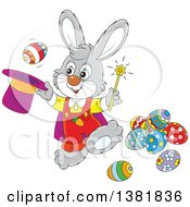 Clipart Of A Cartoon Gray Bunny Rabbit Magician Performing A Trick With Easter Eggs Royalty Free Vector Illustration by Alex Bannykh