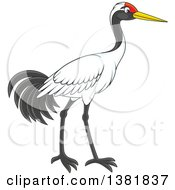 Clipart Of A Walking Crane Bird Royalty Free Vector Illustration by Alex Bannykh