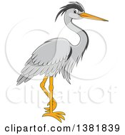 Clipart Of A Cartoon Grey Heron Bird Royalty Free Vector Illustration