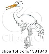 Clipart Of A Cartoon White Egret Bird Royalty Free Vector Illustration by Alex Bannykh