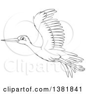 Clipart Of A Cartoon Black And White Flying Stork Bird Royalty Free Vector Illustration by Alex Bannykh