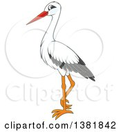 Clipart Of A Stork Bird Royalty Free Vector Illustration by Alex Bannykh