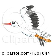 Clipart Of A Cartoon Flying Stork Bird Royalty Free Vector Illustration by Alex Bannykh