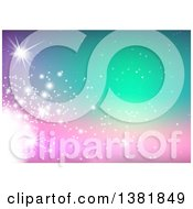 Clipart Of A Gradient Pink To Green Background With Light Flares Royalty Free Vector Illustration by dero