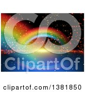 Clipart Of A Background Of Rainbows And Flares On Black Royalty Free Vector Illustration