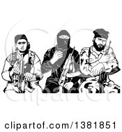 Clipart Of A Black And White Group Of Male Terrorists Sitting With Rifles Royalty Free Vector Illustration by dero