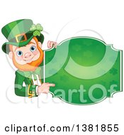 Clipart Of A Happy St Patricks Day Leprechaun Pointing Around A Green Shamrock Sign Royalty Free Vector Illustration