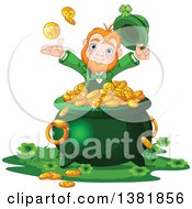 Clipart Of A Happy St Patricks Day Leprechaun Tossing Up Rounds Over A Pot Of Gold Royalty Free Vector Illustration by Pushkin