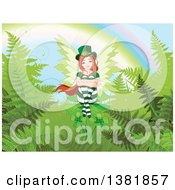 Female Red Haired St Patricks Day Leprechaun Fairy Sitting On Shamrocks And Ferns At The End Of A Rainbow
