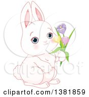 Cute White Bunny Rabbit Holding Spring Flowers