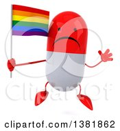 Clipart Of A 3d Red Pill Character On A White Background Royalty Free Illustration