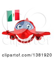 Clipart Of A 3d Red Airplane Character Holding A Mexican Flag On A White Background Royalty Free Illustration