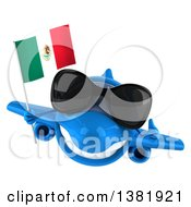 Clipart Of A 3d Blue Airplane Character Holding A Mexican Flag On A White Background Royalty Free Illustration