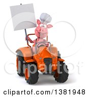 Poster, Art Print Of 3d Chef Pig Operating A Tractor On A White Background