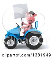 Clipart Of A 3d French Pig Operating A Tractor On A White Background Royalty Free Illustration