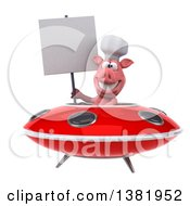 Clipart Of A 3d Chef Pig Flying A Ufo On A White Background Royalty Free Illustration