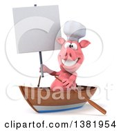 Clipart Of A 3d Chef Pig Rowing A Boat On A White Background Royalty Free Illustration