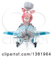 Clipart Of A 3d Chef Pig Flying A Plane On A White Background Royalty Free Illustration