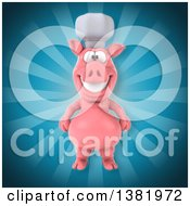 Clipart Of A 3d Chef Pig Over Rays Royalty Free Illustration