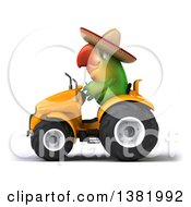 Poster, Art Print Of 3d Mexican Green Macaw Parrot Operating A Tractor On A White Background