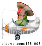 Clipart Of A 3d Mexican Green Macaw Parrot Flying A Plane On A White Background Royalty Free Illustration