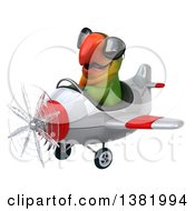 Clipart Of A 3d Green Macaw Parrot Flying A Plane On A White Background Royalty Free Illustration