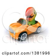 Clipart Of A 3d Green Macaw Parrot Driving A Convertible Car On A White Background Royalty Free Illustration