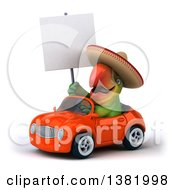 Clipart Of A 3d Mexican Green Macaw Parrot Driving A Convertible Car On A White Background Royalty Free Illustration