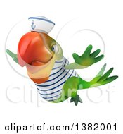 Clipart Of A 3d Green Macaw Parrot Sailor Flying On A White Background Royalty Free Illustration