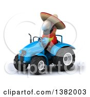 Clipart Of A 3d Mexican Scarlet Macaw Parrot Operating A Tractor On A White Background Royalty Free Illustration