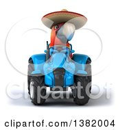 Poster, Art Print Of 3d Mexican Scarlet Macaw Parrot Operating A Tractor On A White Background