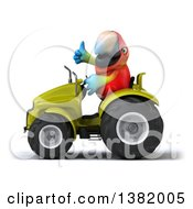 Poster, Art Print Of 3d Scarlet Macaw Parrot Operating A Tractor On A White Background